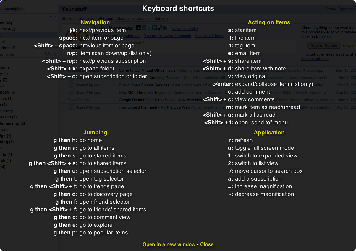 Google Reader Shortcuts